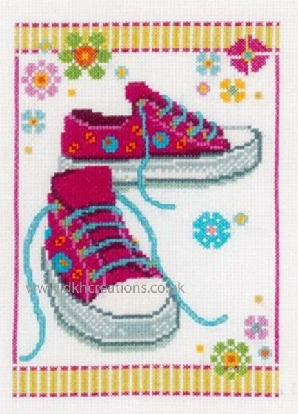Pink Sneakers Birth Sampler Cross Stitch Kit